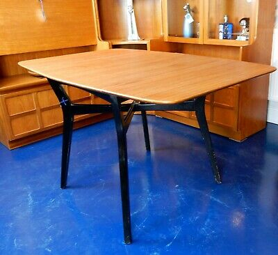 G Plan E Gomme drop leaf dining table tola and black librenza retro mid century