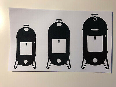 One set of Weber Smokey Mountain WSM Smoker BBQ Family Window Decals Stickers