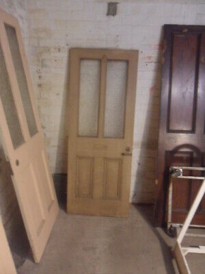rare small antique panel door 2 glass panels tiny Victorian loo door twists etc