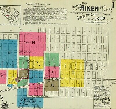 Aiken, South Carolina~Sanborn Map©sheets~made in 1884  to 1918~ 45 maps in color