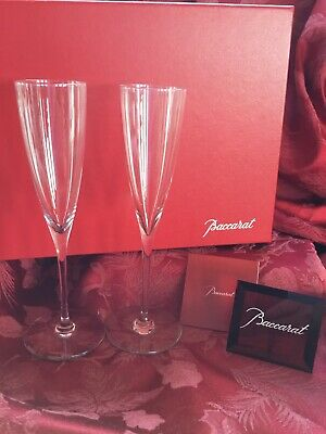 MIB FLAWLESS Exquisite BACCARAT Two DOM PERIGNON Crystal CHAMPAGNE FLUTES WINE