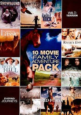 10 Movie Family Adventure Pack (DVD 2012 2-Disc Set) NEW! Movie Listed, 14 Hours