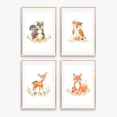 Woodland Floral Boho Animal Prints Baby Nursery Childrens Bedroom Decor Pictures