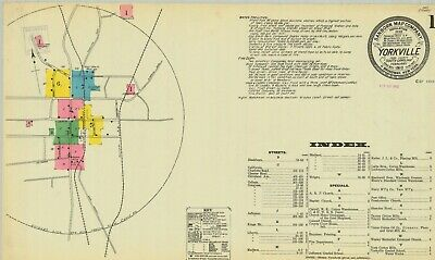 Yorkville, South Carolina~Sanborn Map©sheets~made in 1910  with full color