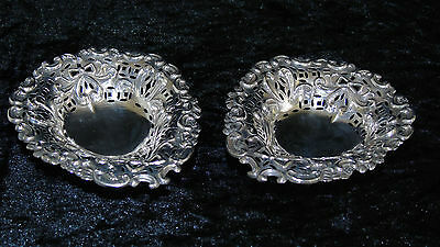 Sterling Silver Pair Small Heart Shaped Trays Chester 1894