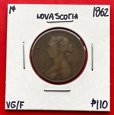 1862 Nova Scotia Canada Large One Cent Penny Coin - $110 VG/F