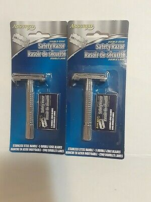 2 Assured Double Edge Stainless Shaving Safety Razor ,10 Blades Included! NEW🤠