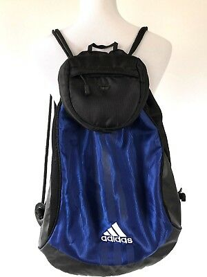 03f8e3758807 Adidas Cinch Sack Sports Gym Backpack Equipment Bag Workout Blue Black  Travel