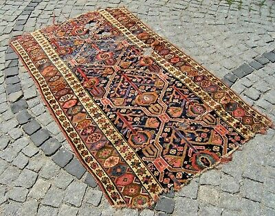 Fabulous Antique Awesome Fragment Rug Caucasian Collector's Piece Fragment Rug