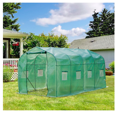 Outdoor Greenhouse10'x7'x7 Walk-in Greenhouse with PE Cover,Strong Metal Frame