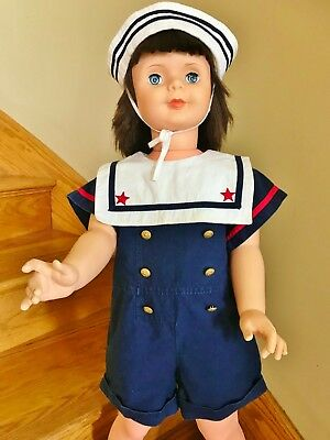 1940s 1950s 2 pc Playpal Companion Doll Sailor Nautical Suit Hat Boy Girl Peter