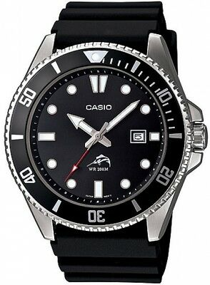Casio Mens Stainless Steel Dive-Style Watch, Black Resin Strap - MDV106-1A