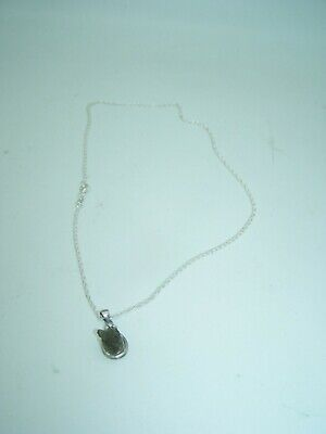 """MOLDAVITE Charm On Thin 18"""" .925 Sterling Silver Chain Necklace Lot C-D"""