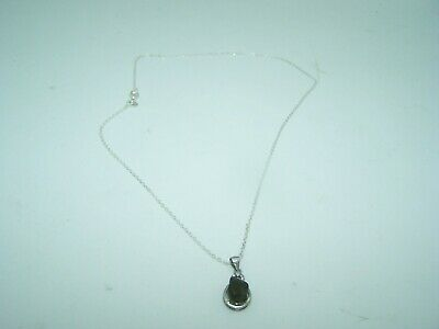 """Polished MOLDAVITE Charm On Thin 18"""" .925 Sterling Silver Chain Necklace Lot C-G"""