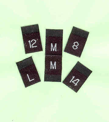 Size Labels Woven - Size Tabs - Pack of 100 - White on Black