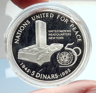 1995 BAHRAIN Isa Bin Salman United Nations Genuine Silver 5 Dinar Coin i74065