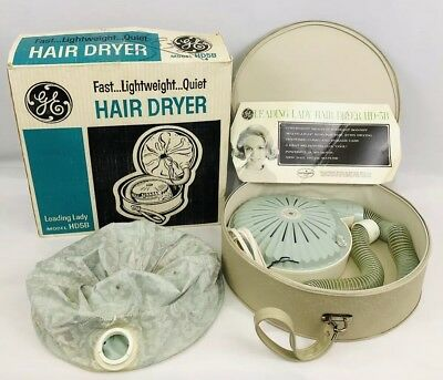 Vintage 1960's General Electric GE Hair Dryer Model HD-5B Case Instructions Box