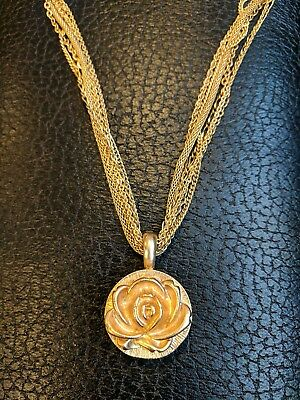 43cec412c Mary Kay Consultant Floral Necklace Gold Tone Locket Pendant Jewelry