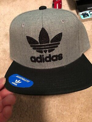 Men s ADIDAS Original Ori Trefoil Chain Heather Grey Black Snapback Hat Cap 2570f857907