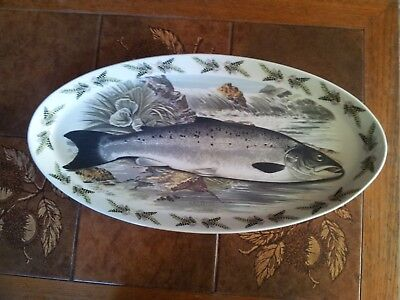 "Portmeirion The Compleat Angler 19"" Oval Serving Dish featuring a Salmon"