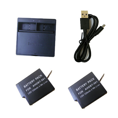 For GoPro Hero5 Battery / USB Dual charger AHDBT-501  Hero6 GoPro Hero7 Camera