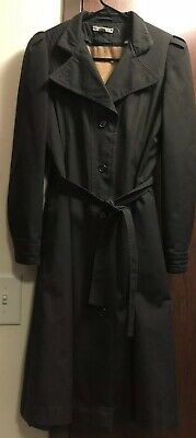 MADE IN POLAND Women's Black Long Button-Down Trench Jacket Coat w/ Warmer SZ 5