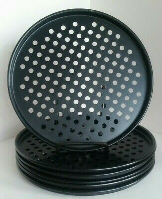 6 Pizza Pans 10 inch Diameter individual perforated coated baking tray