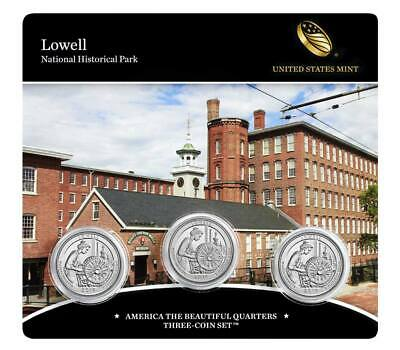 PRE-SALE*Lowell National Historical Park 2019 Quarter3-Coin Set. 2 Uncir.1-Proof