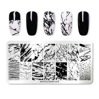 NICOLE DIARY Nail Stamping Plates Rectangle Overprint Nail Art Stamp Stencil 076