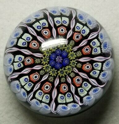 Early Perthshire Lg Pp1 Millefiori & Latticino Spoke Paperweight