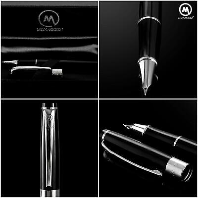Luxury Black Fountain Pen Classic Platinum Vintage Wood Pens with Fine Medium Ni