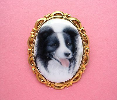 DOGS Happy Porcelain BORDER COLLIE DOG CAMEO Costume Jewelry Pin Brooch Pendant