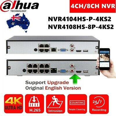 Dahua 4/8Channel 4K POE 8MP H.265 HDD HDMI NVR Network Video Recorder English
