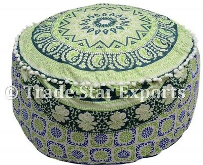 Large Ottoman Pouf Cover Indian Mandala Ombre Decorative Seating Pouf Cover