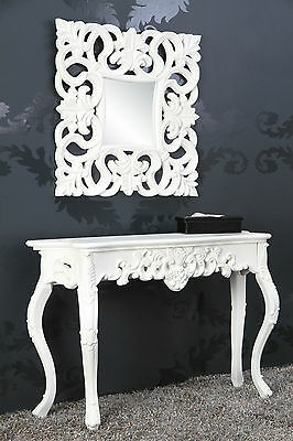 Wall Mirror + Console Table Set of White Antique Finish Luxurious Magnificently