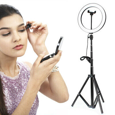 "10"" LED Ring Light Stand Dimmable LED Lighting Kit For Makeup Youtube Live Red"