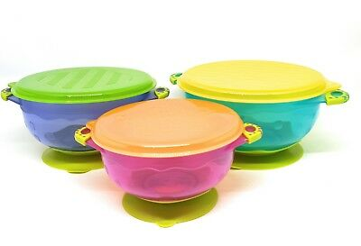 Set of 3 Suction Baby bowls, Silicone base, FDA approved, no BPA's, stay put
