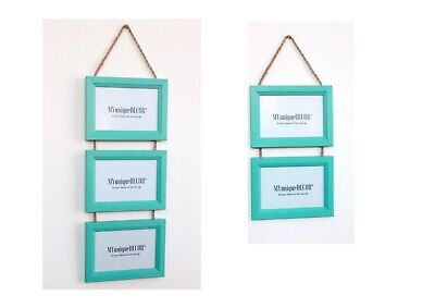 Teal Photo Picture Frame Solid Wood Wall Hanging Plaited Twine Vintage Rustic UK