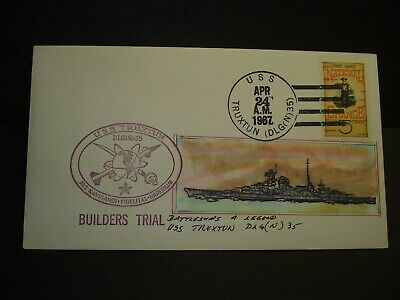 USS TRUXTUN DLGN-35 Naval Cover 1967 HAND-PAINTED BUILDERS TRIAL ADD-ON Cachet