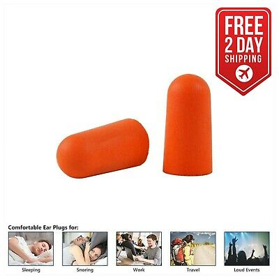 Ultra-Soft Foam Earplugs, Box of 200 Pair - 32dB Highest NRR - Ear Plugs  Orange
