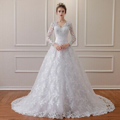 9ad252b130a5 2019 Luxury Train Wedding Dresses A-Line V-neck Long Sleeves Lace Bridal  Gowns