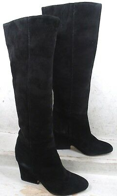 34070028247 Sam Edelman Womens Whitney Black Suede Leather Pull On Knee Boots Shoes size  8 M