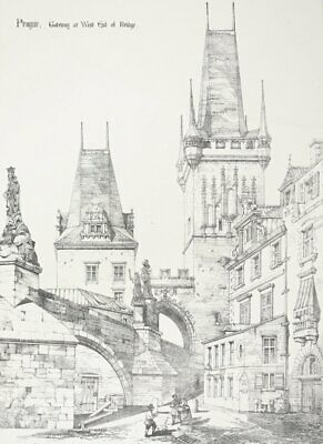 "PRAG / Praha - ""Gateway at West End of Bridge"" - Lithographie um 1850"