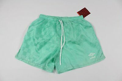 575ff78a4fe Vintage 90s New Umbro Mens Large Spell Out Checkered Nylon Soccer Shorts  Mint