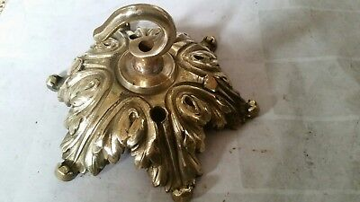 LARGER 125mm CEILING ROSE chandelier hook FRENCH cast brass ANTIQUE old c1900