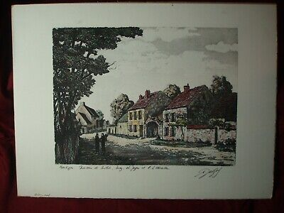 Maurice Jacque Original Aquatint Etching View of Barbizon 19th c French Barbizon