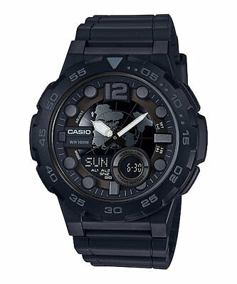 Casio AEQ100W-1BV,  Men's Databank 30 Watch, 100M, 3 Alarms, Chronograph, Resin