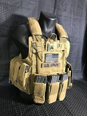Tactical Plate Carrier BODY ARMOR Vest COYOTE TAN Military SWAT MOLLE