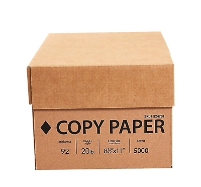 """Staples Copy Paper 20 lbs 92 Bright 5000 Sheets/10 Ream Case - 8.5"""" X 11''"""
