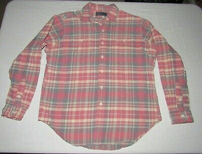 78e00097 Polo By Ralph Lauren Men's Pink Gray White Plaid Button Up Flannel Shirt  Size L